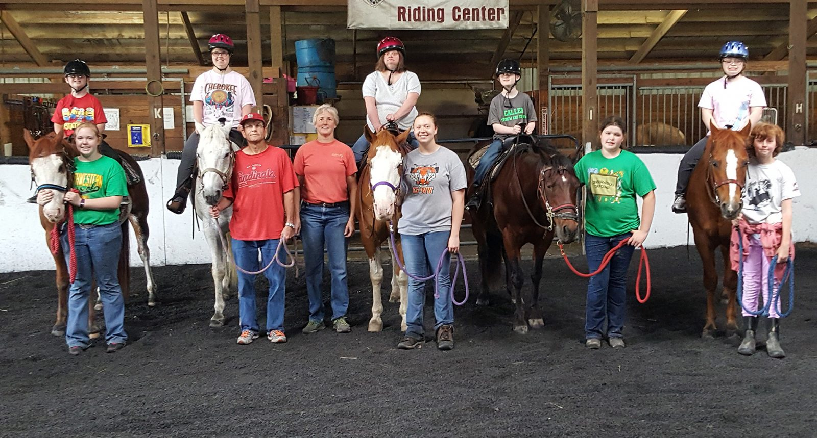 Equestrian Center at Beverly Farm. Group photo of the Downs Syndrome Camp