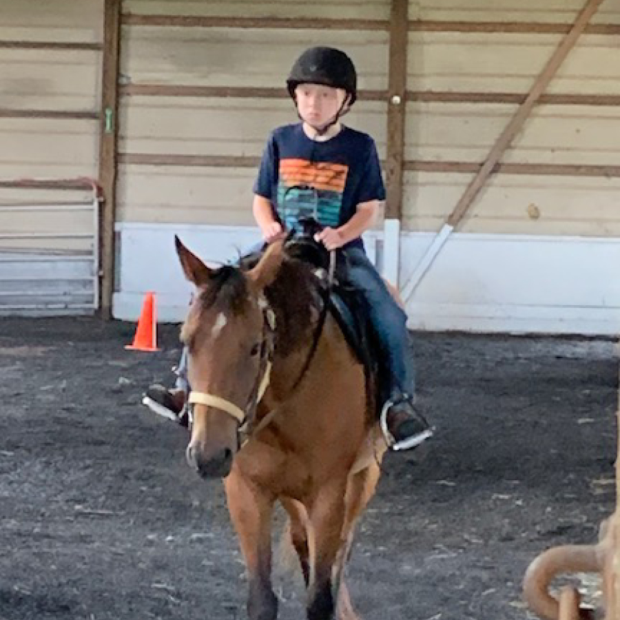 Equestrian Center at Beverly Farm Summer Riding Camps. Boy on horseback in our indoor arena.