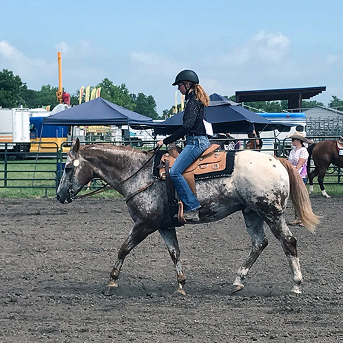 Equestrian Center at Beverly Farm Riding Lessons. Girl on horseback at a show.