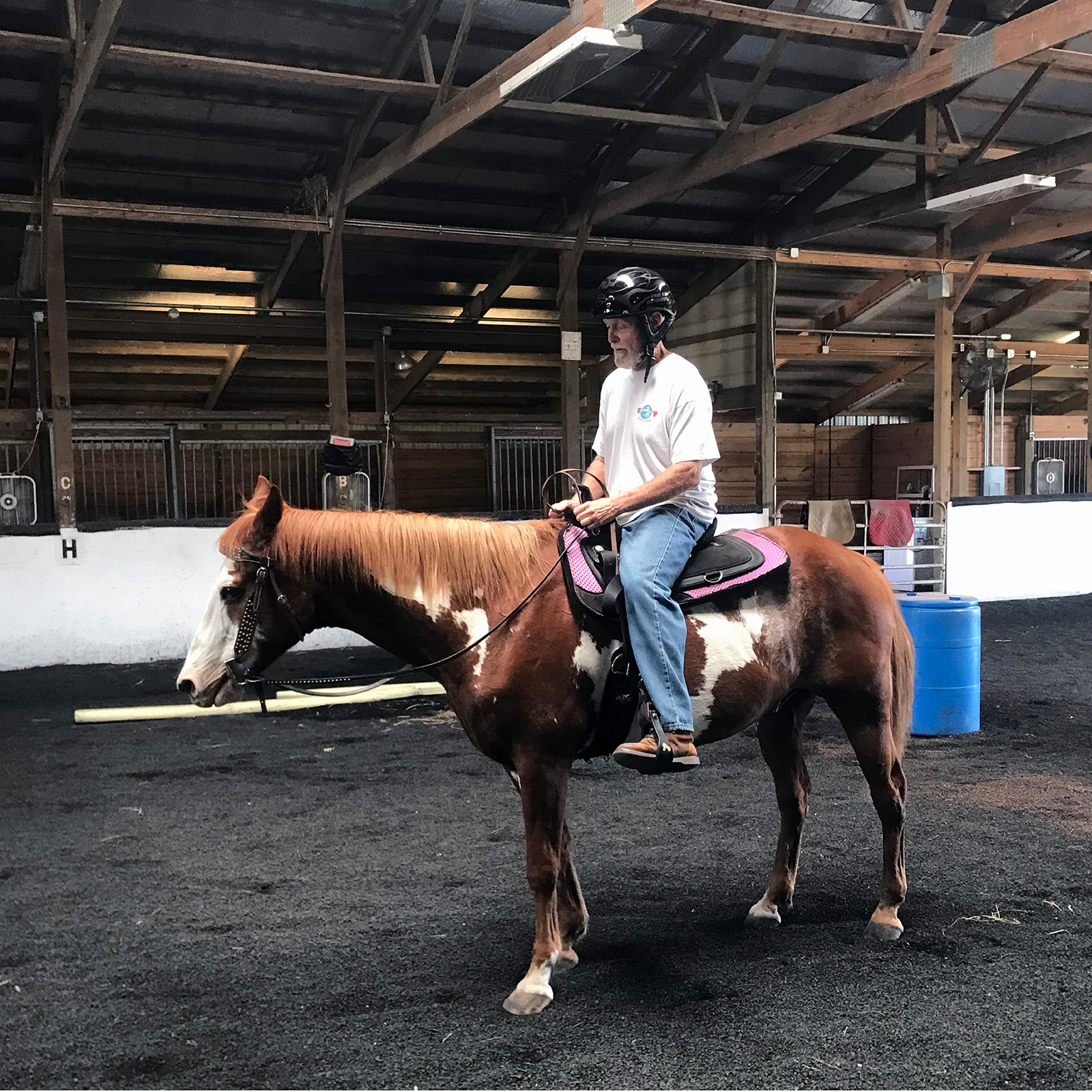 Equestrian Center at Beverly Farm Riding Lessons. Man on horseback in the indoor arena.