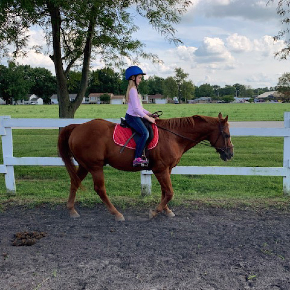 Equestrian Center at Beverly Farm Riding Lessons. Girl on horseback riding in our outdoor arena.