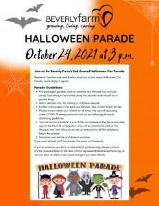 Beverly Farm Halloween Car Parade Flyer 2021